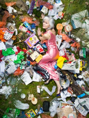 Mariko surrounded by seven days of her own rubbish in Pasadena, California. (Photo by Gregg Segal/Barcroft Media)